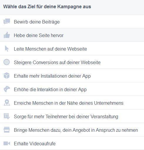 Facebook KampagnenZiele